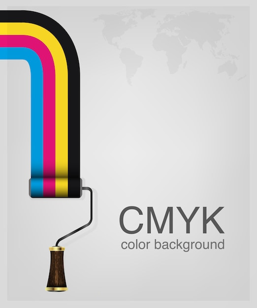 Cmyk. imprimir cores rolo de pintura. Vetor Premium