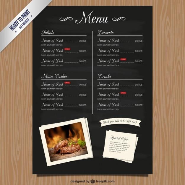 Cmyk restaurante lista do menu baixar vetores gr tis for Modelos de restaurantes