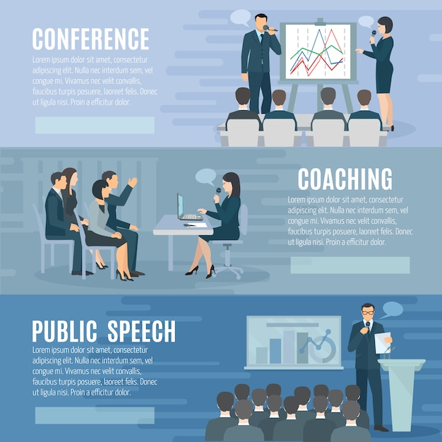 Coaching de discurso público e recursos visuais apresentação habilidades informações 3 banners horizontais Vetor grátis