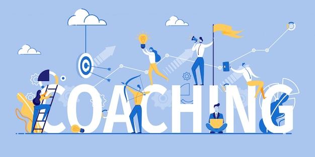 Coaching marketing de banner e treinamento publicitário Vetor Premium