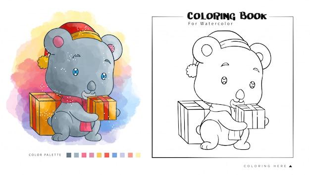 Coala bonito com presente de natal usar chapéu de papai noel, ilustração dos desenhos animados para livro para colorir em aquarela. Vetor Premium
