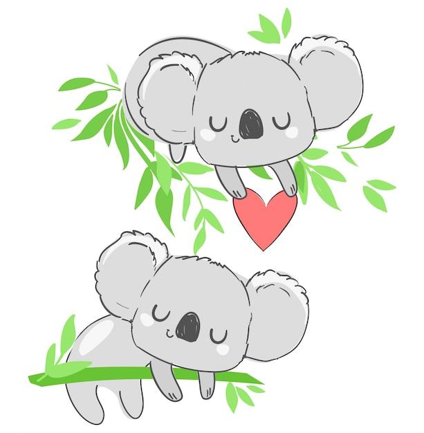 Coala bonito e coração infantil bela impressão, ilustração animal mão desenhada. Vetor Premium