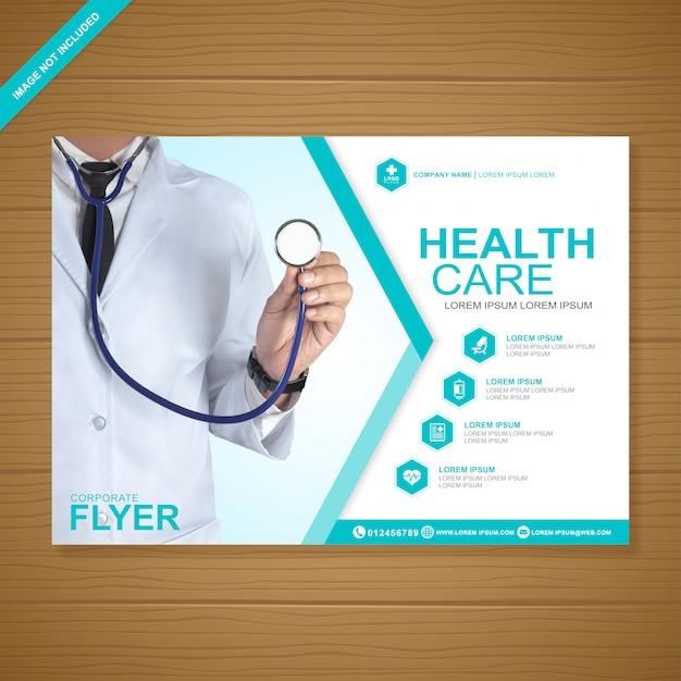 Cobertura de saúde e médica a4 modelo de design de folheto Vetor Premium