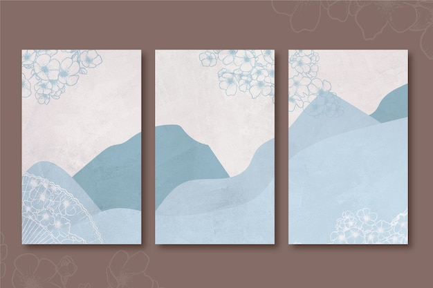 Cobertura japonesa minimalista das colinas e montanhas azuis Vetor Premium