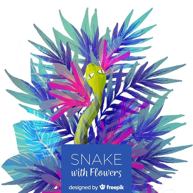 Cobra com ilustração de flores Vetor grátis