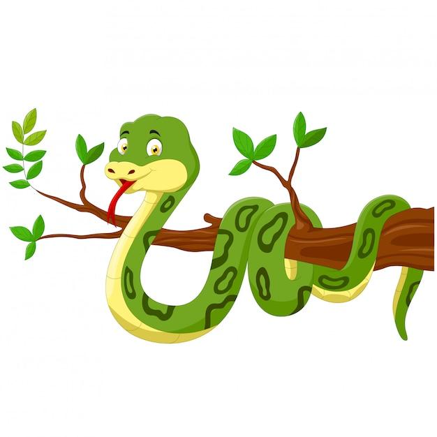 Cobra de desenho animado na árvore Vetor Premium