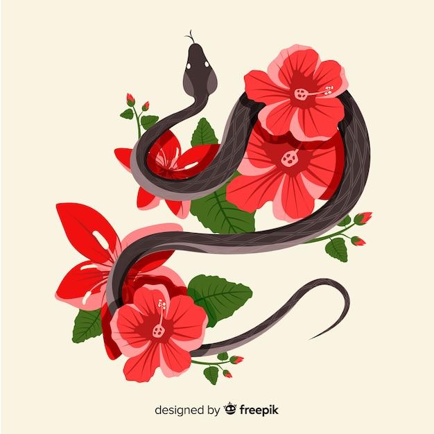 Cobra desenhada de mão com fundo de flores Vetor grátis
