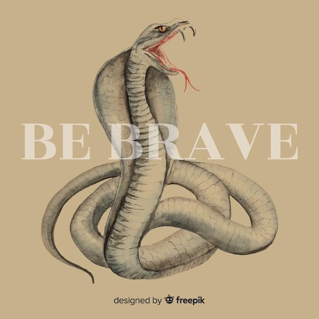 Cobra desenhada de mão com fundo de palavra Vetor grátis