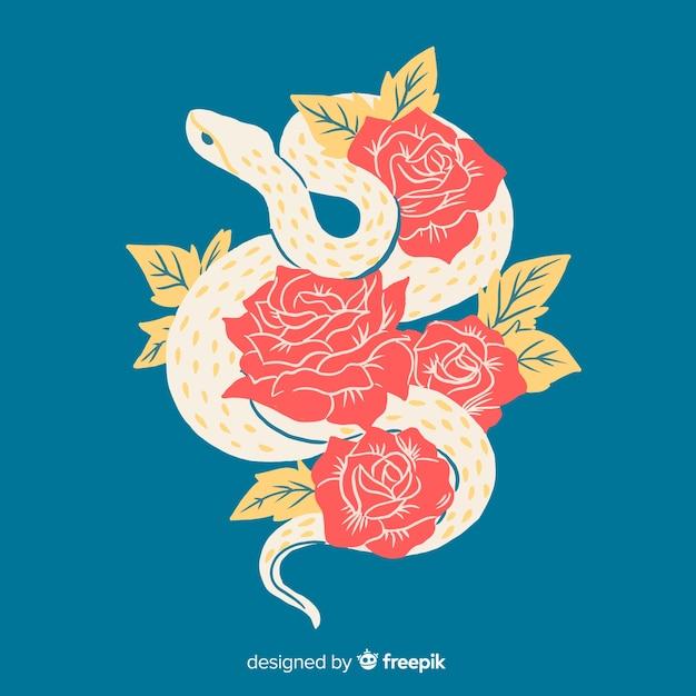 Cobra desenhada de mão com fundo de rosas Vetor grátis