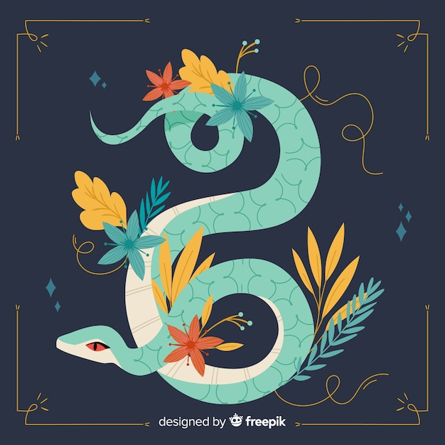 Cobra desenhada de mão com ilustração de flores Vetor grátis