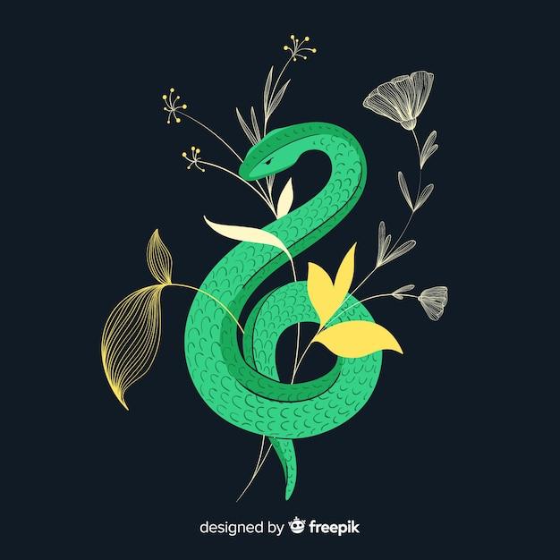 Cobra desenhada de mão escura com fundo de flores Vetor grátis