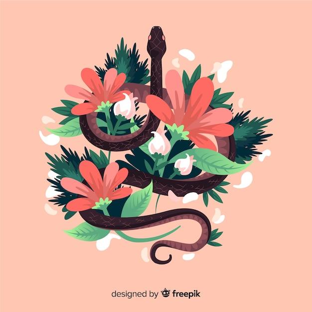 Cobra desenhada de mão, rodeada por flores Vetor grátis