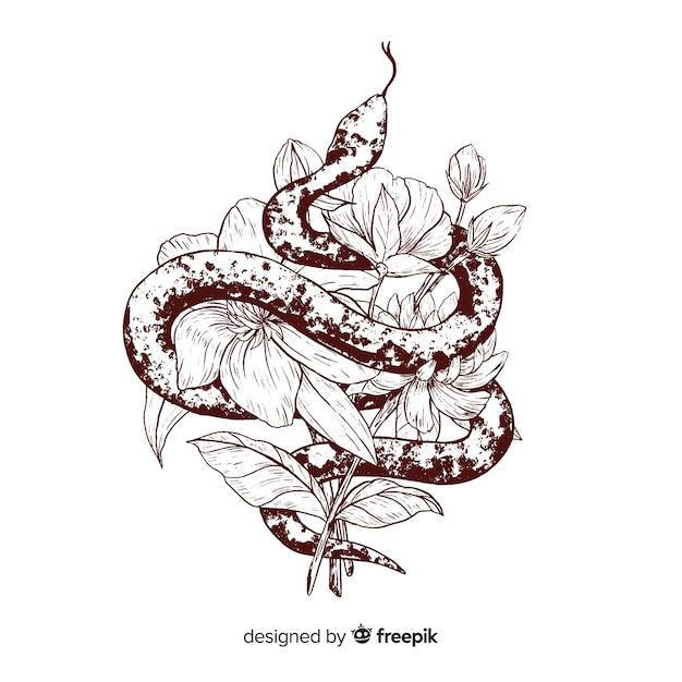 Cobra incolor de mão desenhada com fundo de flores Vetor grátis