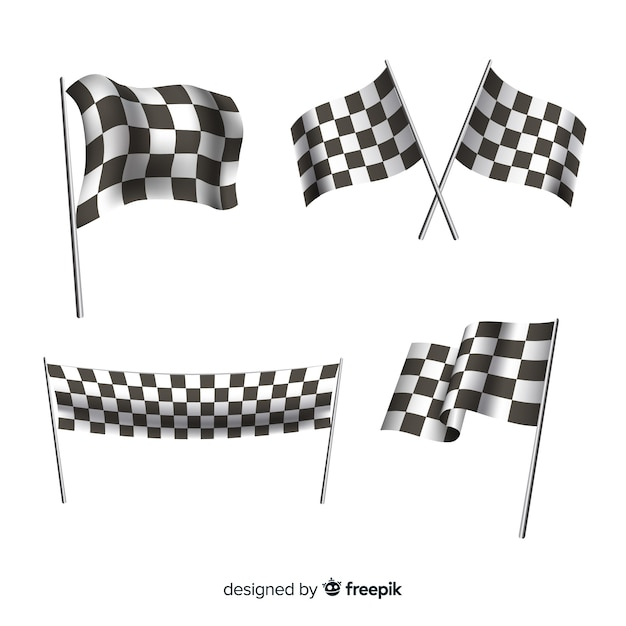 Cobrança, de, checkered, bandeiras Vetor Premium