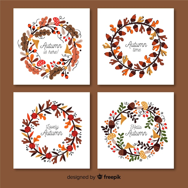 Cobrança, de, mão, desenhado, outono, cartões Vetor grátis