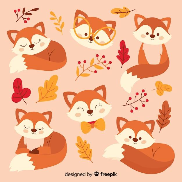 Cobrança, de, mão, desenhado, raposas Vetor grátis