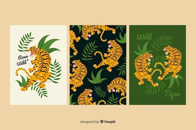 Cobrança, de, mão, desenhado, tigre, cartões Vetor Premium