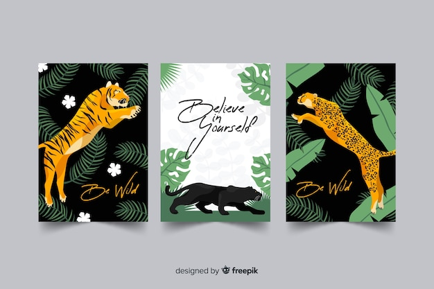 Cobrança, de, mão, desenhado, tigre, cartões Vetor grátis