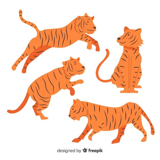 Cobrança, de, mão, desenhado, tigres Vetor grátis