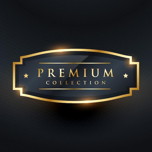 Cobrança de prêmio emblema de ouro e design de etiquetas Vetor grátis