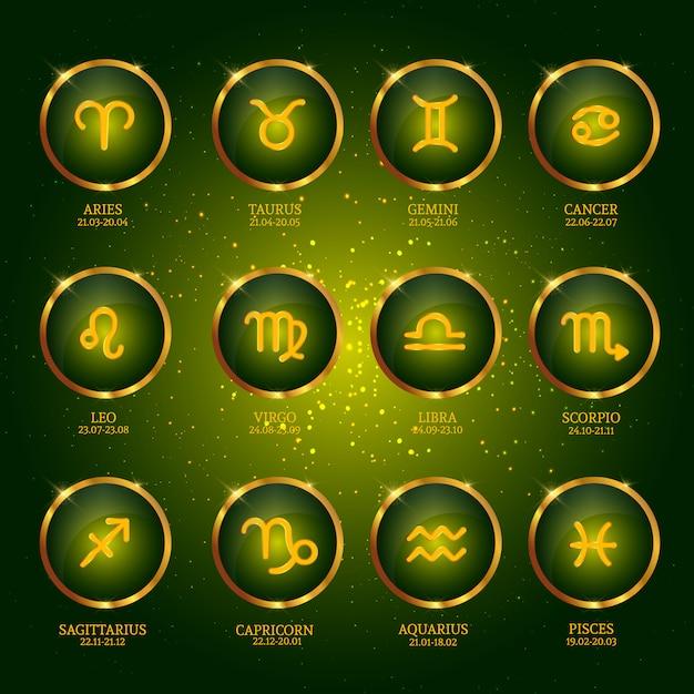 Cobrança, de, zodíaco, ícones Vetor Premium