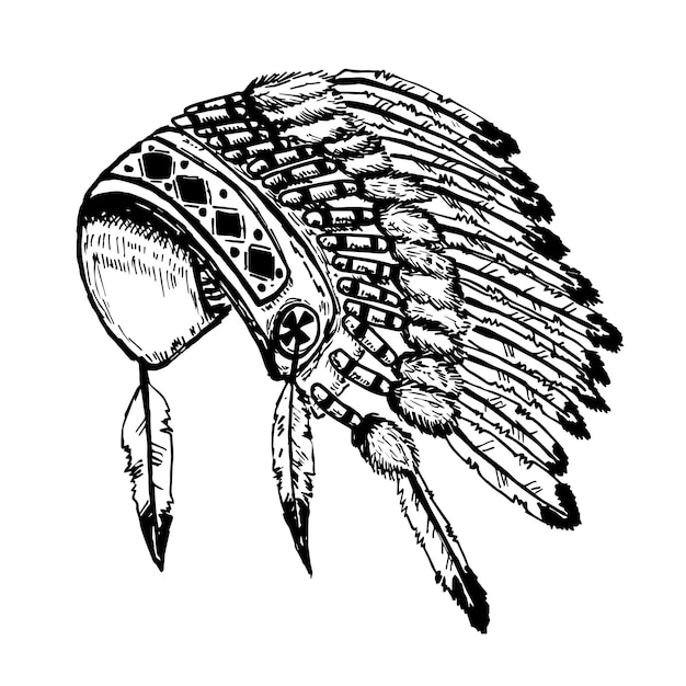 Cocar chefe de índios nativos americanos na ilustração de fundo branco Vetor Premium