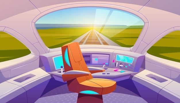 Cockpit de trem com painel de controle e poltrona Vetor grátis
