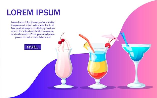 Cocktail beber suco de frutas com estilo. página do site e design do aplicativo. lugar para texto. ilustração na cor de fundo Vetor Premium