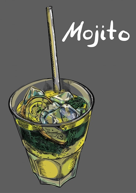 Cocktail mojito com gelo e palha Vetor Premium