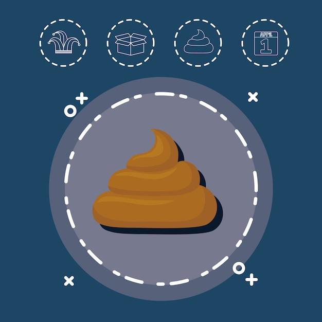 Cocô e aprils tolos dia relacionados com ícones em torno de Vetor Premium