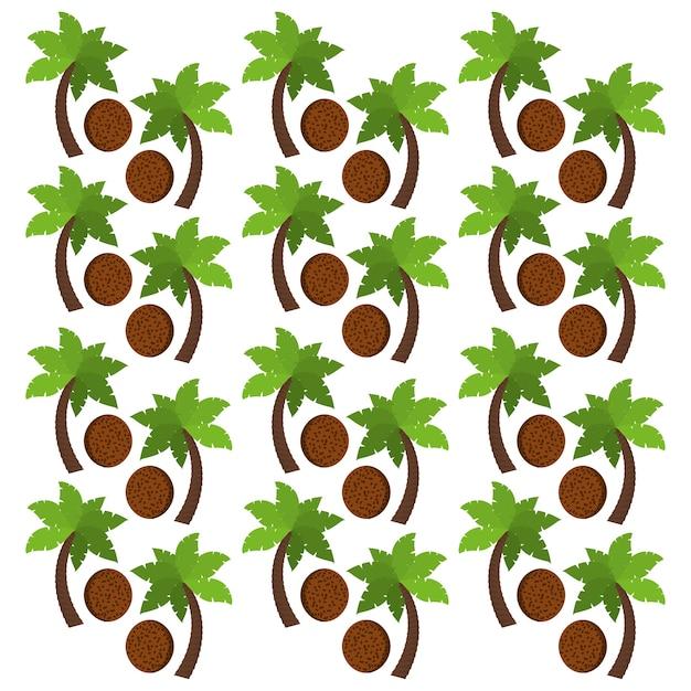 Coco frutas e palmeiras fundo design Vetor Premium