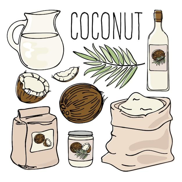 Coco vegetariano paleo diet natural Vetor Premium
