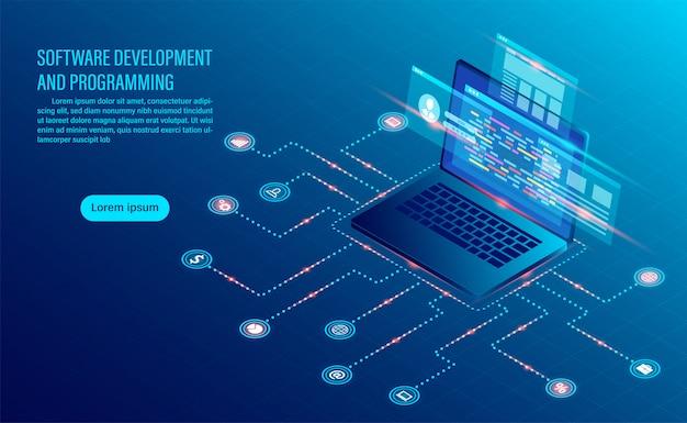 Codificação de desenvolvimento de software e análise de negócios Vetor Premium