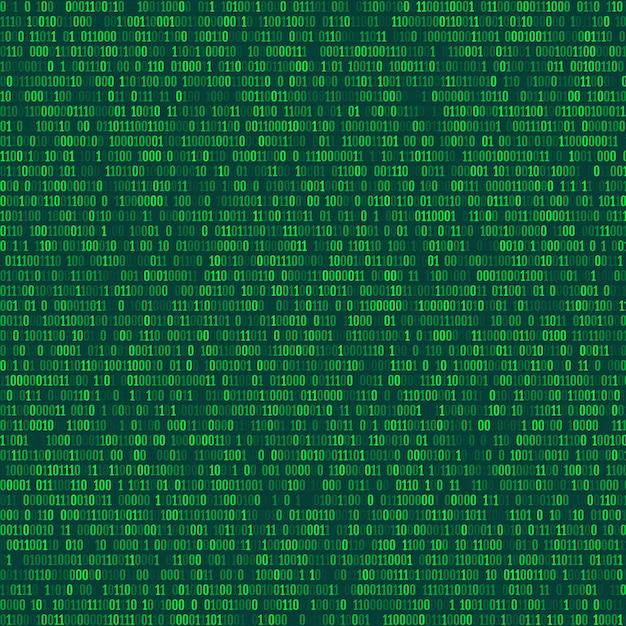 Código binário de computador repetindo o fundo vector Vetor Premium