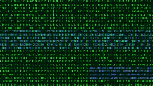 Código binário, dígitos verdes na tela do computador. Vetor Premium