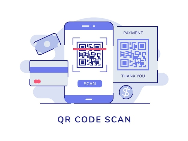 Código de barras de leitura de código qr na tela do smartphone banco de cartão de dinheiro branco fundo isolado Vetor Premium