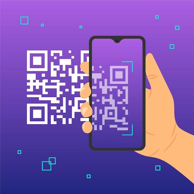 Código qr de digitalização para smartphone Vetor grátis