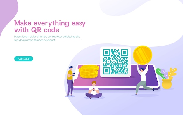Código qr digitalização conceito ilustração vetorial, as pessoas usam o smartphone e digitalizar código qr para pagamento e tudo Vetor Premium