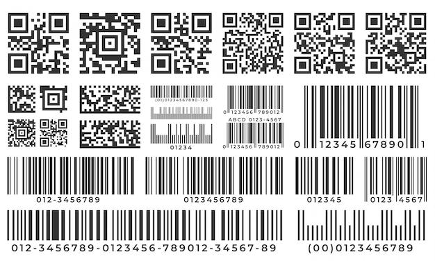 Códigos de barra. digitalize a etiqueta da barra, o código qr e o código de barras industrial. conjunto de crachá de inventário de produto, etiqueta de códigos e barras de pacotes Vetor Premium