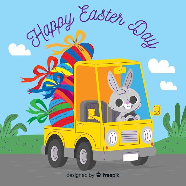 Coelhinha dirigindo caminhão cheio de fundo de dia de páscoa de ovos Vetor grátis