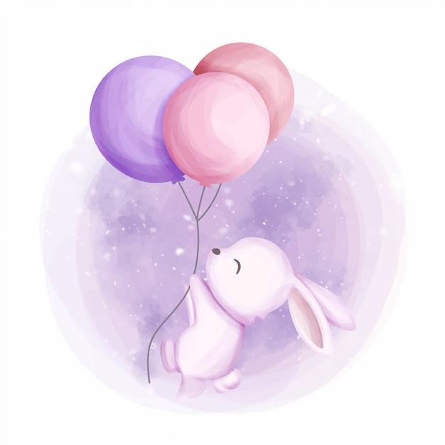 Coelhinha voar com balão 3 Vetor Premium