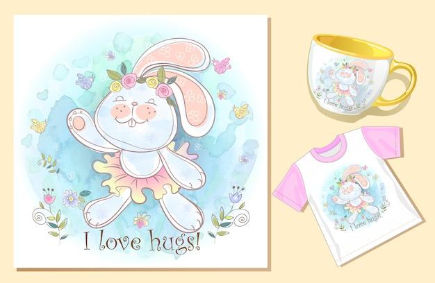 Coelhinho abraço. e-card hilário. imprima na caneca e na camiseta. Vetor Premium