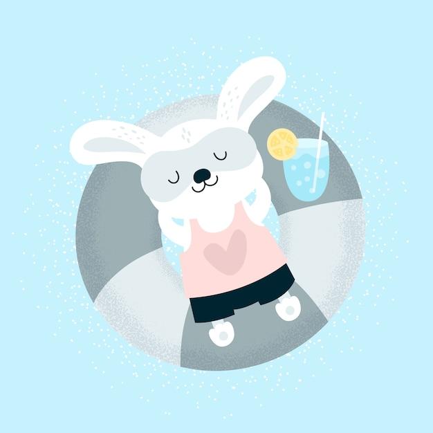 Coelhinho engraçado bebê relaxante na praia Vetor Premium