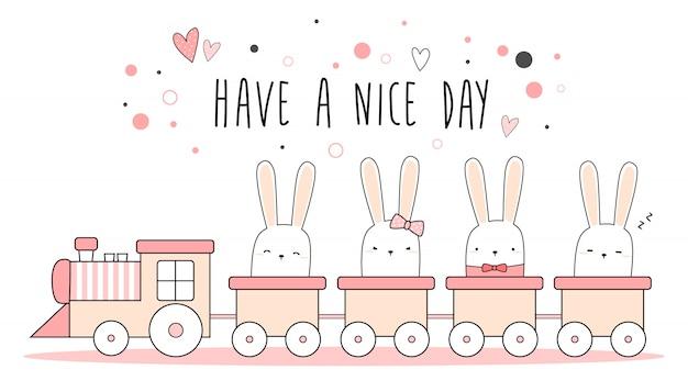 Coelhinho fofo coelho no trem rosa pastel papel de parede Vetor Premium