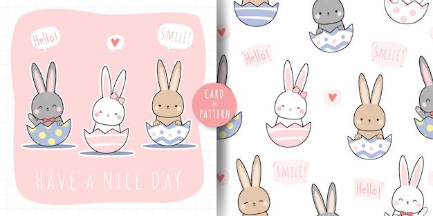Coelhinho fofo no ovo dos desenhos animados doodle padrão sem emenda e pacote de cartão Vetor Premium