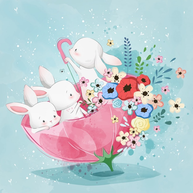 Coelhinhos bonitos no guarda-chuva da primavera Vetor Premium