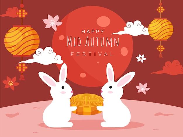 Coelhinhos de desenho animado segurando um mooncake, flores, nuvens e lanternas chinesas penduradas decoradas em fundo vermelho e rosa escuro para feliz festa de meados de outono. Vetor Premium