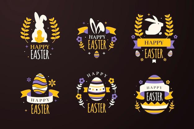 Coelhinhos e ovos com emblemas de páscoa de trigo Vetor grátis