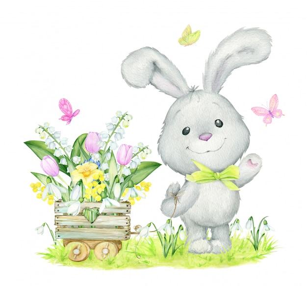 Coelho bonito, aquarela, conceito de primavera, flores. Vetor Premium