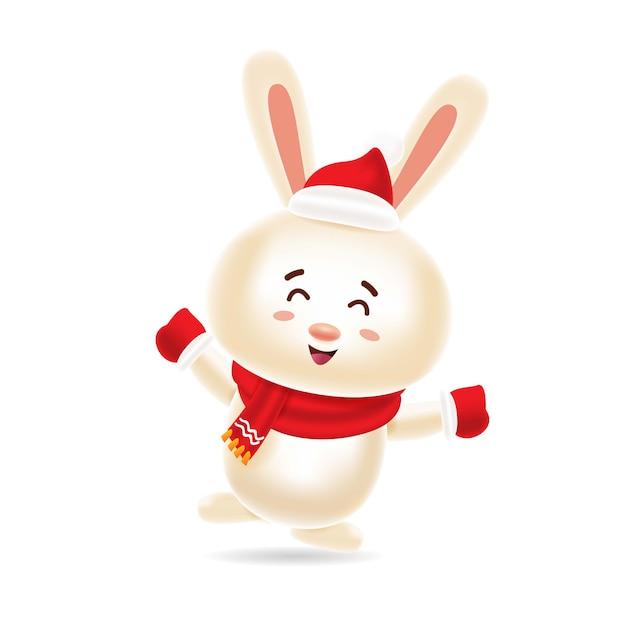 Coelho bonito dançando com tampa vermelha e lenço vermelho Vetor Premium